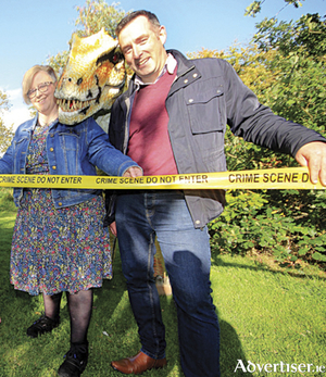 Jackie Gorman, CEO of Midlands Science, and Dr Craig Slattery, UCD, with a friendly dinosaur. As part of national Science Week, this year's Midlands Science Festival includes everything from dinosaurs to the science of solving crimes.