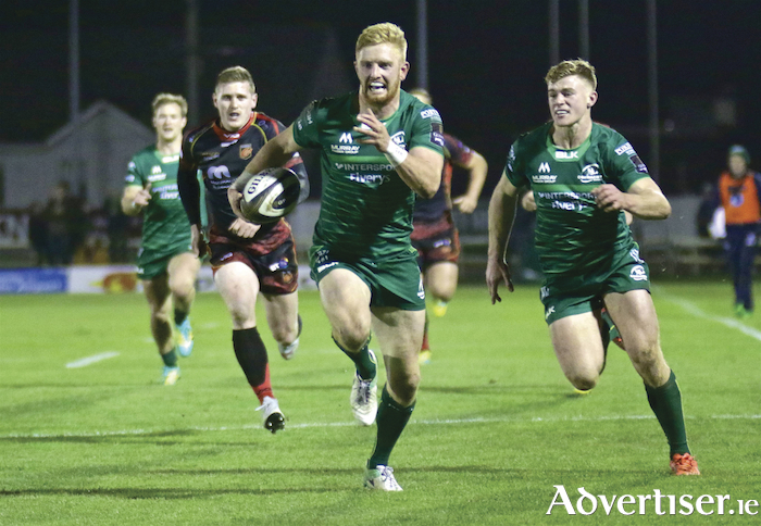 Connacht's Darragh Leader scored a try against Dragons in action from the Guinness PRO14 game at the Sportsground, Saturday. Photo:-Mike Shaughnessy