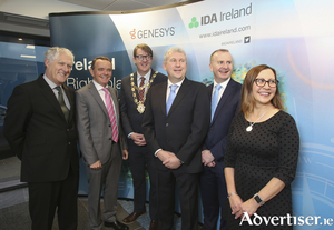 Pictured at Genesys' announcement of 200 new tech jobs in Galway were Stephen Coney and Barry O'Sullivan of Genesys, Mayor of Galway Niall McNelis, Joe Smyth, Genesys, Denis Curran, IDA and Tracy Cote, Genesys.    Photograph by Aengus McMahonPictured at the Genesys announcement yesterday morning were Stephen Coney and Barry O'Sullivan of Genesys, Mayor of Galway Cllr. Niall McNelis, Joe Smyth, Genesys, Denis Curran, IDA and Tracy Cote, Genesys. Photo:- Aengus McMahon