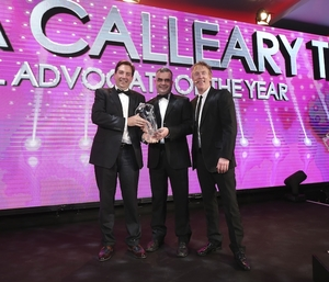 Dara Calleary TD being awarded Retail Advocate of the Year 2019 at the recent 21st Retail Excellence Awards. Photo: Robbie Reynolds.