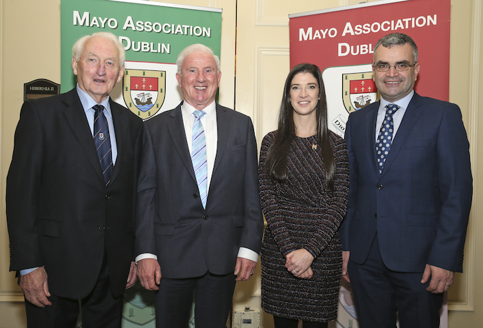 Pictured at the Mayo Association Dublin Business Lunch in the Intercontinental Hotel Ballsbridge Dublin, from left: Frank Fleming, (Hon. Life President Mayo Association Dublin); Bernie O'Hara (Mayo Association Galway); Dr Norah Patten (Ballina) and Deputy Dara Calleary, TD. Photo: Michael Donnelly