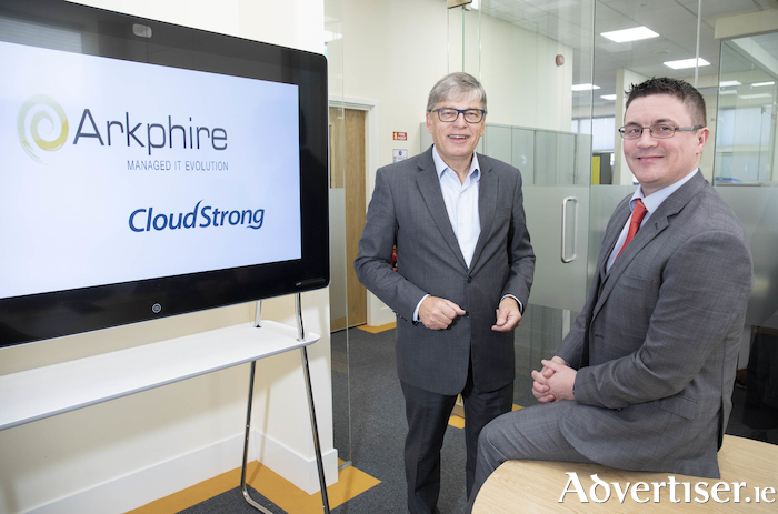 Photographed at Arkphire's announcement of its acquisition of CloudStrong are Paschal Naylor, CEO, Arkphire and Oliver Surdival, CEO, CloudStrong. Photo: Peter Houlihan Photography.