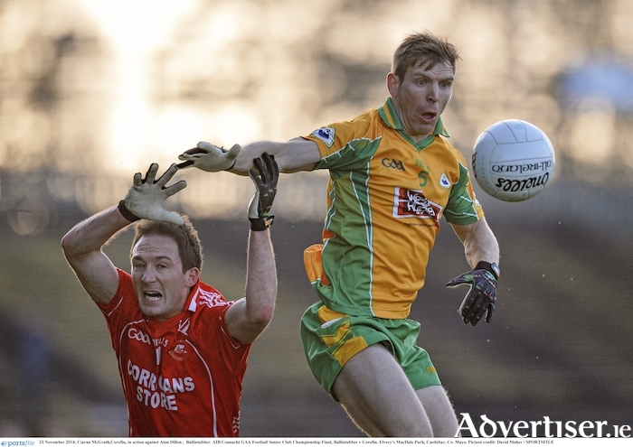 Four years on from their last meeting in a Connacht final Ballintubber and Corofin will meet again this Sunday. Photo: Sportsfile.