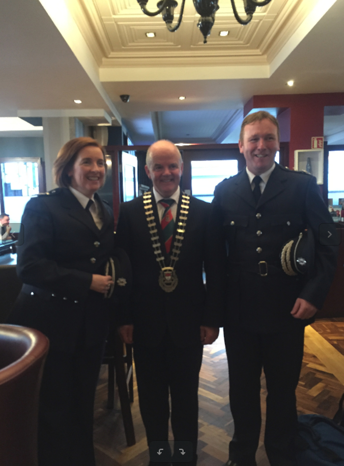 Senior Assistant Chief Fire Officer Aileen O'Connell, Cathaoirleach of Mayo County Council, Cllr Blackie Gavin, and Donal Reilly (Charlestown) at the awards ceremony last week.