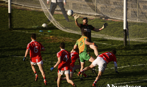 Back of the net: Michael Lundy strikes for Corofin's first goal of they day. Photo: Sportsfile
