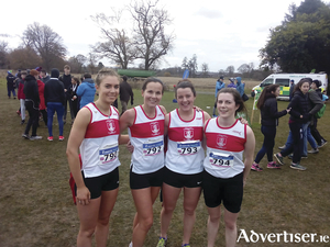 GCH senior ladies team which won team gold at National Club's Cross County Grade B on Sunday. (L to R) Aisling Joyce, Jane Ann Meehan, Kathryn Casserly, and Niamh Hennelly.