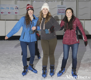 Kelly Heaney, Alish McManamon and Christine Loughlin Salthill enjoying life on ice at the opening of Galway Skates. Photo by Mike Shaughnessy.