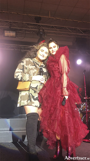 Athlone native, Jessica Shine, pictured with Jessie J, after they performed together on the National Stadium stage
