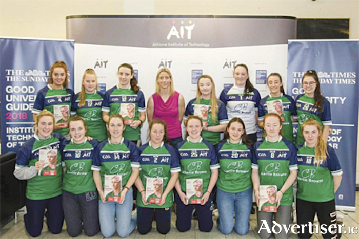 Cora Staunton, pictured with the AIT ladies gaelic football squad, during her recent visit to the third level institution