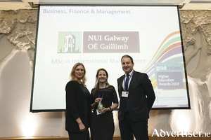 From left,Kiah Townsend, account manager, gradireland; Dr Majella Giblin, Academic Programme Director, MSc International Management, NUI Galway; and Paul McClatchie, Founder, Engage People.