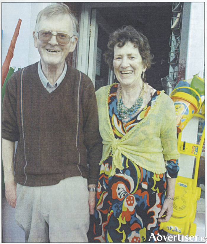 Liam and Kitty Gillane outside their renowned shop before it closed last Summer. (Photo Jonathon Davis).