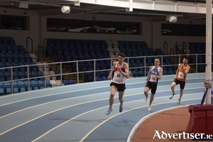 Cillin Greene in action in his record breaking 300m run last week at Athlone IT Arena.