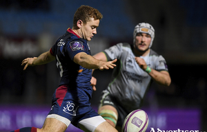 Man of the match James Connolly closes down Paddy Jackson of Perpignan during the Challenge Cup match between Perpignan and Connacht at the Stade Aime Giral in Perpignan, France. Photo by Brendan Moran/Sportsfile