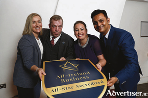 Roz and Leon Tunney-Ware (l), Westport Adventure Park, Co Mayo, at the launch of the All-Ireland Business Foundation Accreditation, a verified standard mark for Irish businesses, with All-Ireland Business Foundation  Programme Directors, Elaine Carroll and Kapil Khanna.  Photo Conor McCabe.