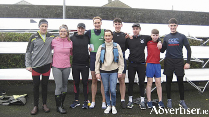 The successful crew who competed in the annual Athlone Boat Club end of year 'fun' row.  L-R: Mark Henshaw, Yvonne Curley, Conor Flynn, Colin Barrett, Andrew Carroll, Brian Cronin, Ciaran Cronin, Cian Scanlon. Cox: Aisling Flanagan