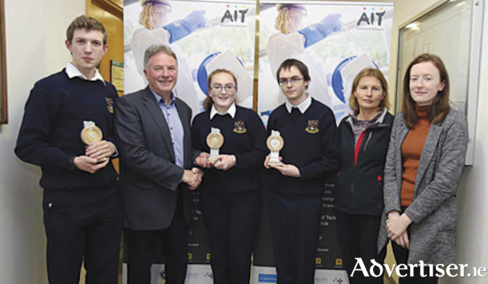The Moate CS team which were successful at the recent Midlands Science Week Quiz