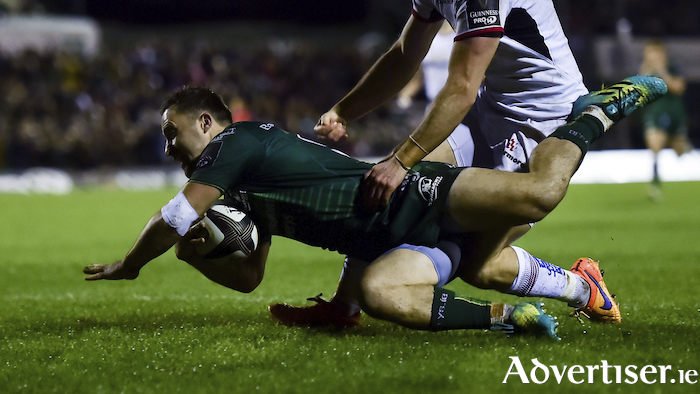 Caolin Blade gets over the line for Connacht's third try in their victory over Ulster last weekend. Photo: Sportsfile.