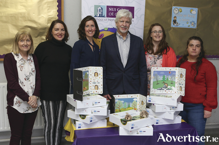 Representatives of the Irish team of educators involved in the development of Spikey's Journey: an Exploration Box at the launch in Scoil Iosef Naofa, Oranmore. From left to Right: Vivienne Kelly, Knocknakarra Education Together; Anna McGuire, Mercy Presentation Primary School; Lindsay Deely, Toodelou Creative Lab; Phil James, ProActivate Ireland; and Sarah Carroll and Muriel Grenon, Cell EXPLORERS NUI Galway. Photo by Aengus McMahon.