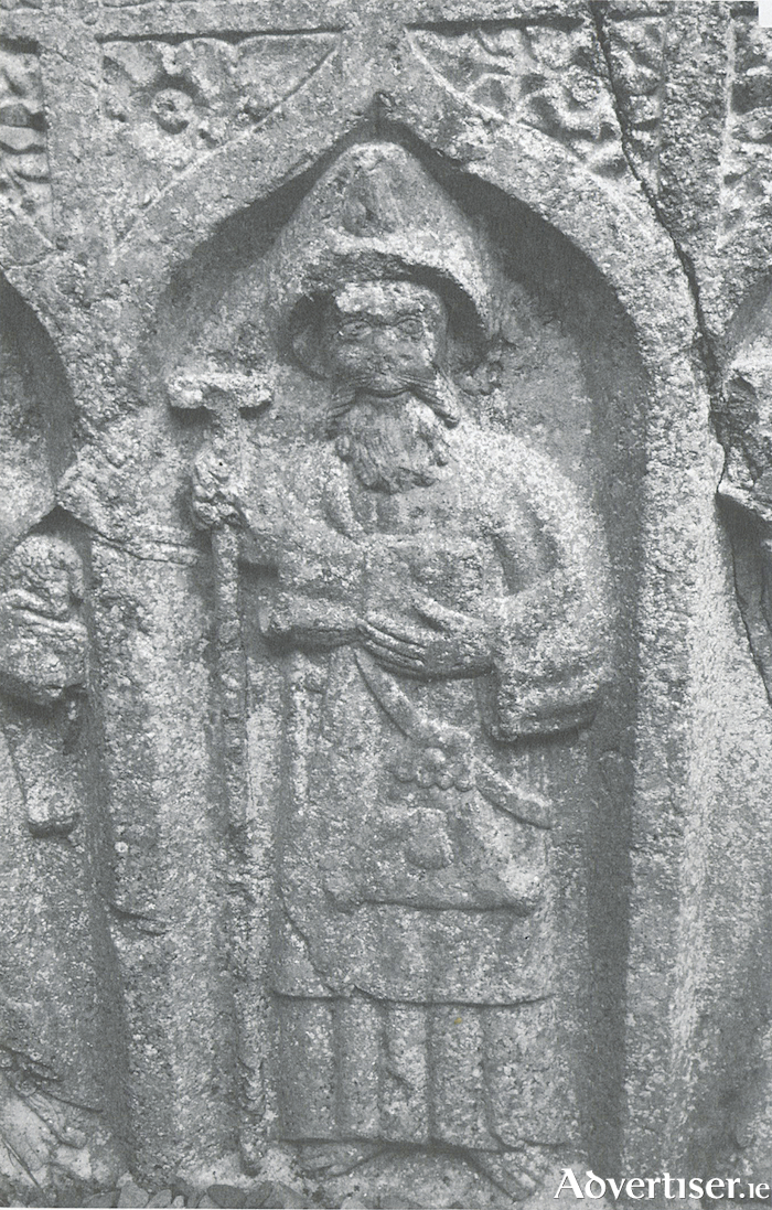 A cheerful St James on a wall tomb at Kilconnel friary, Co Galway.