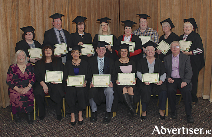 Graduates in the Bachelor of Healing Arts in Kairos therapy from the Connemara College of Natural Healing, standing (l-r): Jacqueline Keane-Lyons, John Joyce, Anne Miller, Ann Roche, Ann Conwell, Francis Fitzgerald, Mairead Ní Chonaola and Mary Forde. Seated (l-r): Maureen Maloney Faherty of the Connemara College of Natural Healing, Pauline Ní Chonchubhair, Christine Kilkenny, Padria Ó Beaghaoich, Patrica Dolan, Theresa Hoban, and Jimmy Faherty of the Connemara College of Natural Healing at the College's graduation ceremony recently. Photo: Mike Shaughnessy.