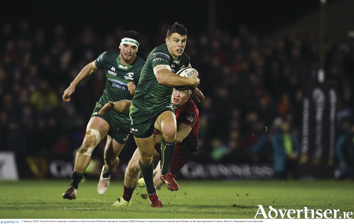 5 January 2019; Tom Farrell of Connacht is tackled by Chris Farrell of Munster during the Guinness PRO14 Round 13 match between Connacht and Munster at the Sportsground in Galway. 