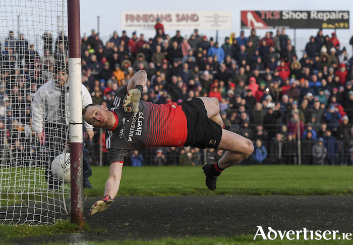 Inches away: Rob Hennelly is beaten by one of Galway's penalties in the shootout. Photo: Sportsfile.