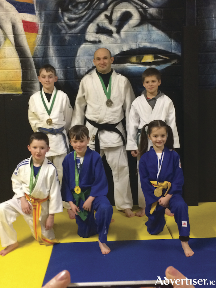 At the recent All Ireland Judo Championships   Back, Dylan McGrath, Sebastian Cygan (coach/competitor), Oskar Predka.    Front,  Jamie Varden, Callum Ainsworth, and Vicktoria Lubecka from the Bushido Judo Club, Claregalway, Co Galway