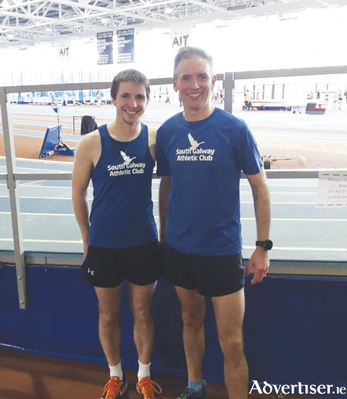 Indoor champs: Dave Richardson, bronze in the senior 3000m (left) and Greg Lundon, Masters 3000m champion,  both of South Galway AC.