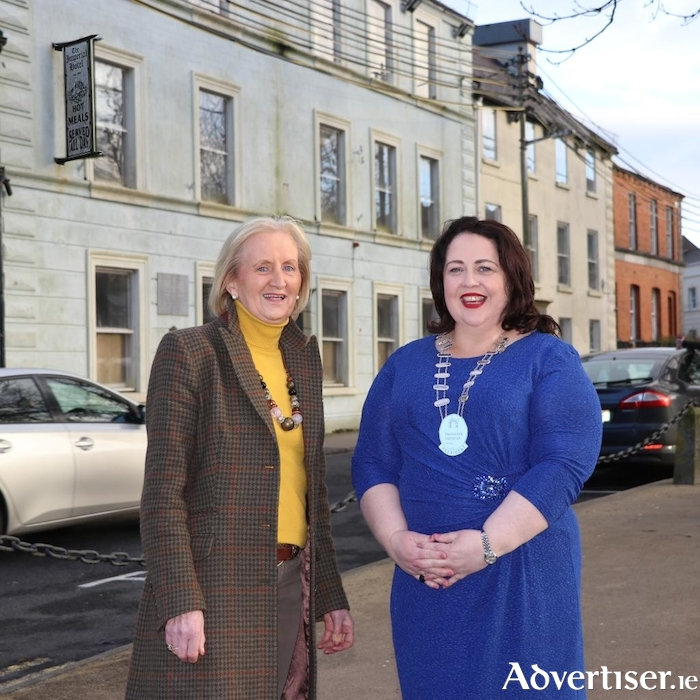 Brenda Clarke (Vice President) & Anne Conlon (President) of Network Mayo pictured out side the Imperial Hotel Castlebar where Network Ireland Mayo was founded in August 1994.