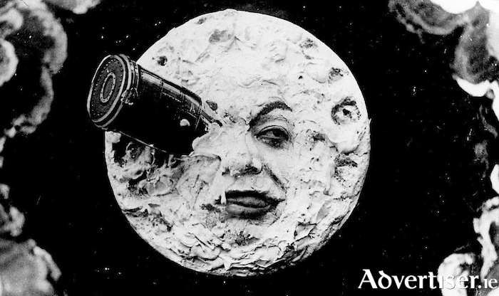 The most famous scene from Georges Méliès groundbreaking sci-fi film, Le Voyage Dans La Lune.