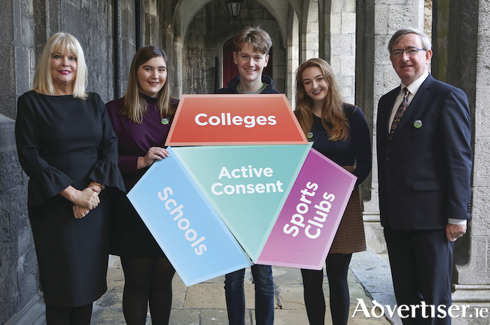 Pictured at the launch of NUI Galway's Active Consent Programme are l-r: Minister of State for Higher Education, Mary Mitchell O'Connor, Megan O'Connor, graduate in drama and theatre performance studies, Rían McKeagney, second year arts student, Clare Austick, Student's Union VP for welfare & equality, and Professor Ciarán Ó hÓgartaigh, president of NUI Galway. Photo: Aengus McMahon