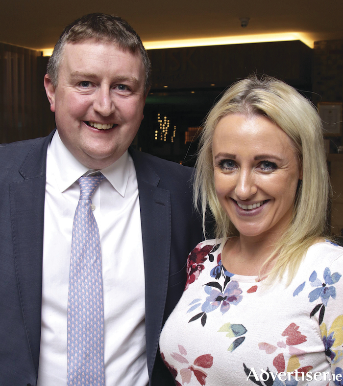 Niall Browne, O'Donnellan & Joyce Auctioneers with Niamh DeBurca, Kilconly attending a evening with Everest mountaineer John Burke hosted by O'Donnellan & Joyce Auctioneers on Thursday. Photo:-Mike Shaughnessy