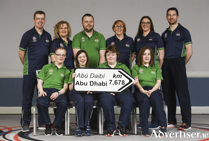 Athletes and coaches from County Galway. Front row (from left) - Matthew Brennan (bocce); Aine McDermott (bowling); Katie Dillon (athletics); and Michelle O'Keane (kayaking). Back row (from left) - Michael Spelman (bowling coach); Evelyn Bohan (basketball coach), Simon Lowry (golf); Gina Naughton (basketball coach); Angela Griffin (gymnastics coach); and Colm Keane (medical co-ordinator) in attendance at the Special Olympics Ireland official launch of Team Ireland for the 2019 Word Summer Games at the Carlton Hotel Tyrrelstown in Dublin. Photo by Harry Murphy/Sportsfile.