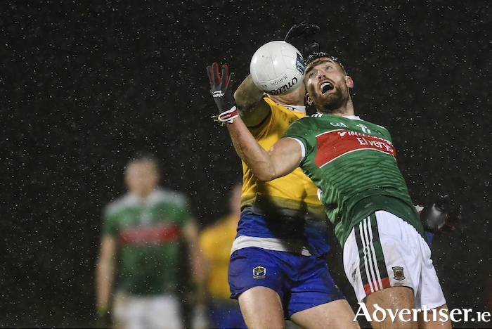 Up in the air: Aidan O'Shea battles for possession against Roscommon. Photo: Sportsfile