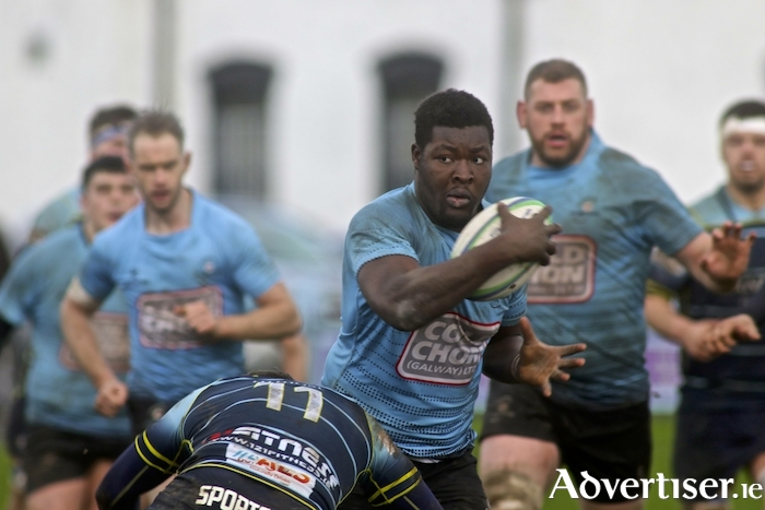 Galwegains' Abdulhaq Afalobi on attack in the Ulster Bank AIL 2a League game at Crowley Park, Saturday.