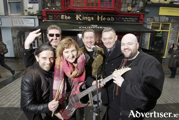 "Announcing details of ""Galway Rocks For Hospice"" a fundraising concert at the Kings Head Bar on Friday February 8th  in aid of Galway Hospice were (L-R) Kelvin Gillmor (KIF),  Turlough Moore (Pyramid), Mary Nash (Galway Hospice), Alan Feeney (Tightrope), Paul Grealish (Kings Head) and Paul Rowland (KIF). Photo:-Mike Shaughnessy"