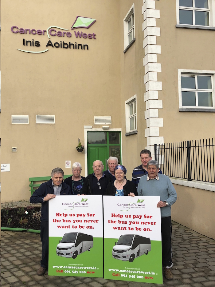 Mayo patients staying at Inis Aoibinn, Cancer Care West, launching their fundraising drive to raise funds to purchase a bus.