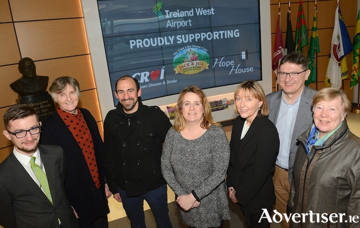 Pictured at the announcement of the charities of the year programme are from left to right: Jamie Hunt (Ireland West Airport), Dolores Duggan (Hope House), Luigi Ryan and Christine Flanagan (Croí), Jackie O'Connor (Jack and Jill Foundation), Joe Gilmore (Ireland West Airport) and Attracta Canny (Hope House).