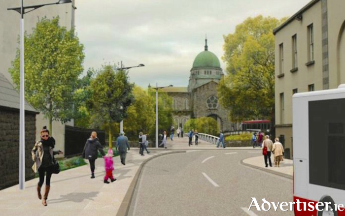 Artist's impression of the proposed new Salmon Weir pedestrian bridge.