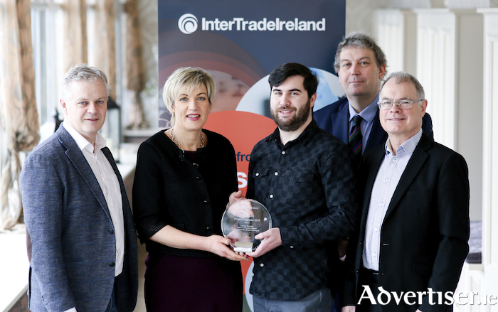 Local manufacturing firm CreVinn Teoranta and their FUSION programme partners are pictured receiving an award recognising their 'outstanding innovation' at the InterTradeIreland FUSION Programme Awards. Pictured (l-r) are: CreVinn Teoranta CTO Vincent Gavin, Margaret Hearty from InterTradeIreland, graduate Cormac Molloy who is now a full-time employee with the company, academic partner Dr Charles J Gillan from Queen's University Belfast and Tadhg Creedon, CEO CreVinn Teoranta.