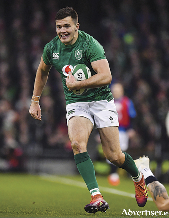 Jacob Stockdale, who wore the number 11 jersey for Ireland during the Guinness Six Nations Rugby Championship match against England.  Will he be donning the same number jersey again this weekend? Photo by Brendan Moran/Sportsfile