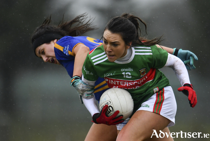 Niamh Kelly of Mayo in action against Roisin Daly of Tipperary during last weekends league meeting between the sides. Mayo will travel to Donegal this Sunday in round two. Photo: Sportsfile