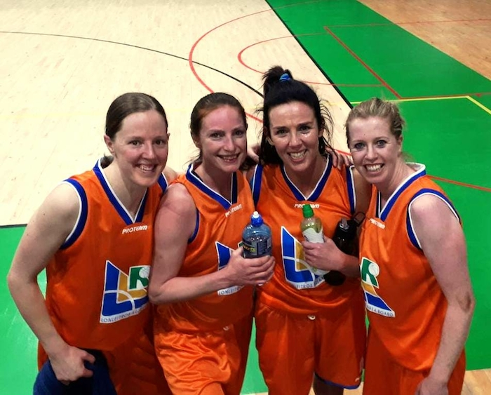 Mustangs claim silver in orange: Lorna Moran, Sinead Hughes, Karen Mulherin and Siobhan Kilkenny who lined out for the Lonleitros side in Tallaght last weekend.