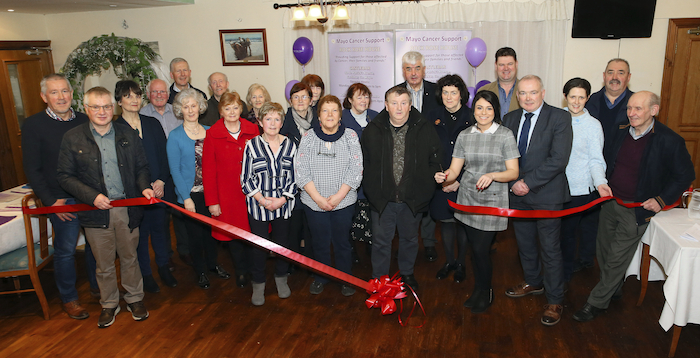 The ribbon is cut at the opening of Mayo Cancer Supports new outreach service in Achill. Photo: Michael Donnelly