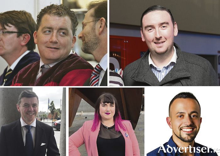 Galway City West candidates (clockwise LtoR): Ollie Crowe, Mike Cubbard, Mark Lohan, Sharon Nolan, and Joe Loughnane.