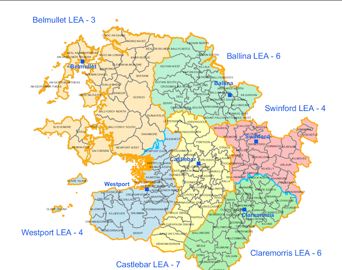 The local election areas in Mayo for this May's local elections.