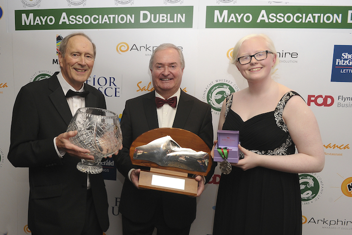 The 2019 Award Winners at Mayo Association Dublin Yew Tree Ball.  Meitheal Award Winner Terry Reilly on behalf of the Mayo Forgotten Famine Girls Remembrance Group, Cathal Hughes Mayo Person of the Year, and Sara McFadden Young Mayo Person of the Year. Photo:  Conor McKeown