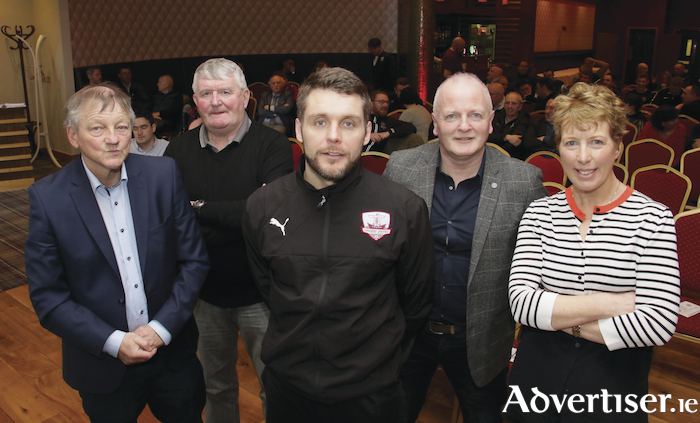 Galway United manager Alan Murphy with Bernie O'Connell, Tommy Lally, Declan Varley and Aine O'Connor at the launch of 'Reclaim The Dyke' a Galway United supporters initiative ahead of the start of the new season. 
