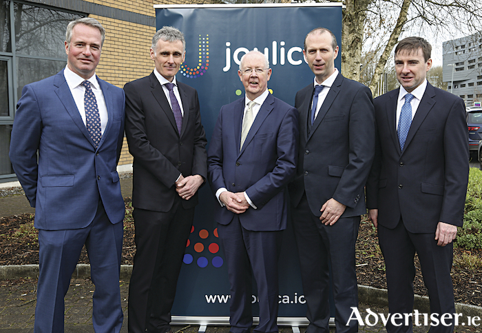 Pictured at the announcement were Joe Smith, Joulica founder, Tony McCormack, Joulica founder and CEO, Barry Egan, EI, John Breslin, NUIG, Diarmuid Leonard, Joulica founder Irish Technology start-up. Photo: Andrew Downes