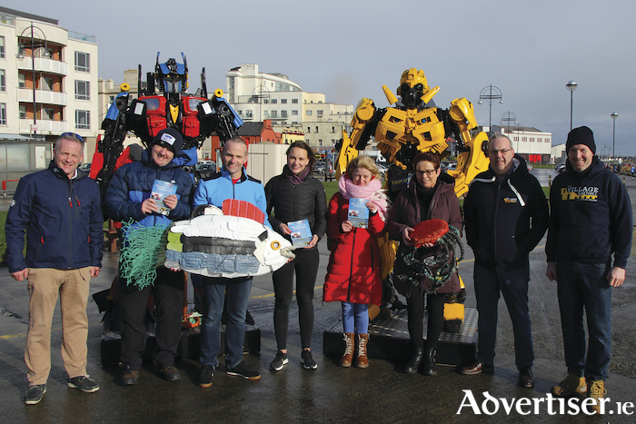 Pictured at the Ocean Transformers launch on the prom: left to right: Shane Spelman, Galway City Tours, Garry Kendellen, Galway Atlantaquaria, Philip Cribbin, Inspiring You, NUIG Science Ambassador Catherine Jordan, artist Fiona Concannon, Sharon O'Reilly, Ciaran Oliver, Salthill village